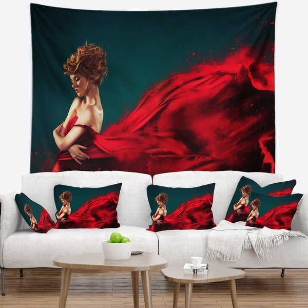 Designart 'Woman in Flying Red Dress' Abstract Portrait Wall Tapestry