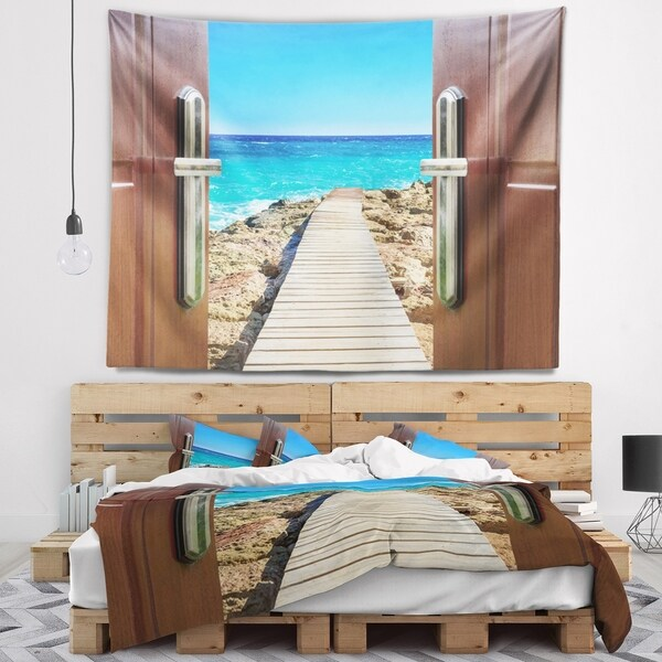 Designart 'Door Open to Wooden Ocean Pier' Wooden Sea Bridge Wall Tapestry