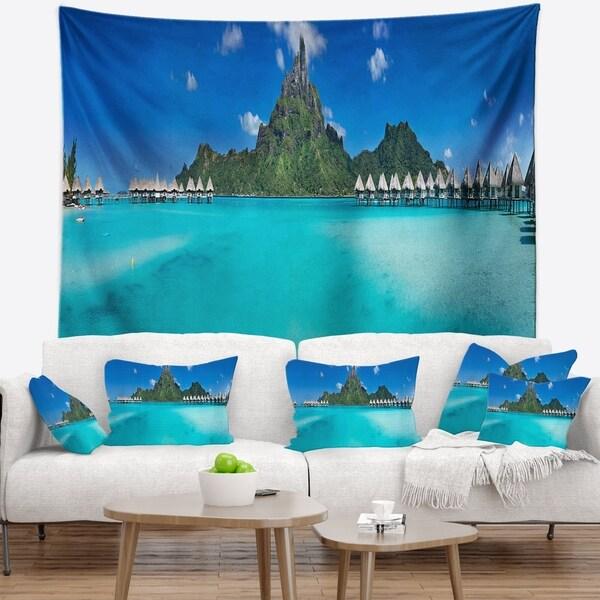 Designart 'Bora Bora Panorama Beach' Seascape Wall Tapestry