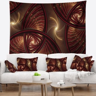 Designart 'Brown Symmetrical Fractal Pattern' Floral Wall Tapestry
