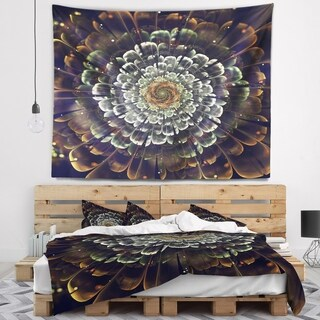 Designart 'Silver Metallic Fabric Flower' Abstract Wall Tapestry