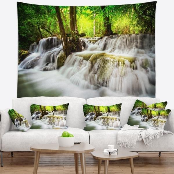 Designart 'Level Five of Erawan Waterfall' Landscape Wall Tapestry