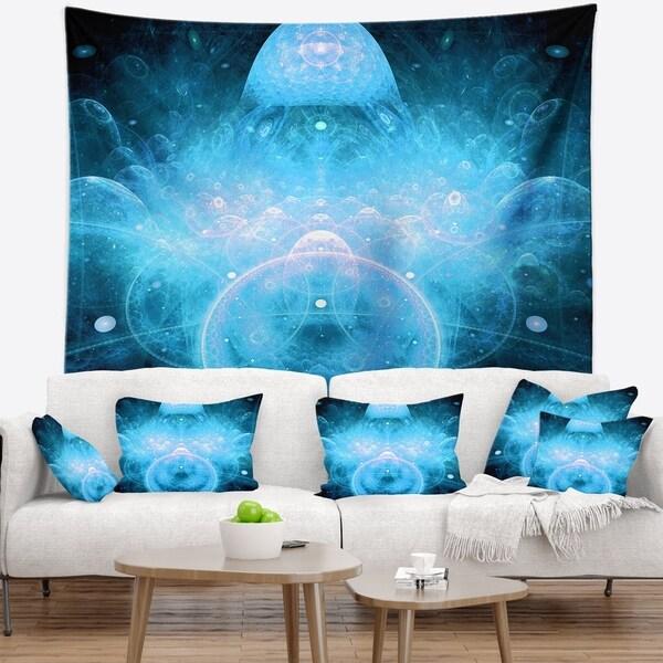 Designart 'Infinite Light Blue Universe' Floral Wall Tapestry