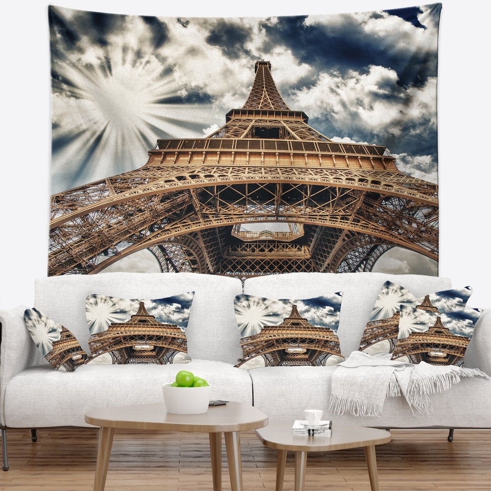 Designart 'Fisheye View of Paris Eiffel Tower' Cityscape Digital Wall Tapestry (60 in. x 50 in.)