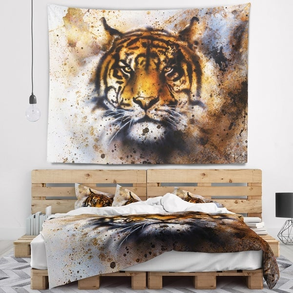 Designart 'Tiger Collage with Rust Design' Animal Wall Tapestry