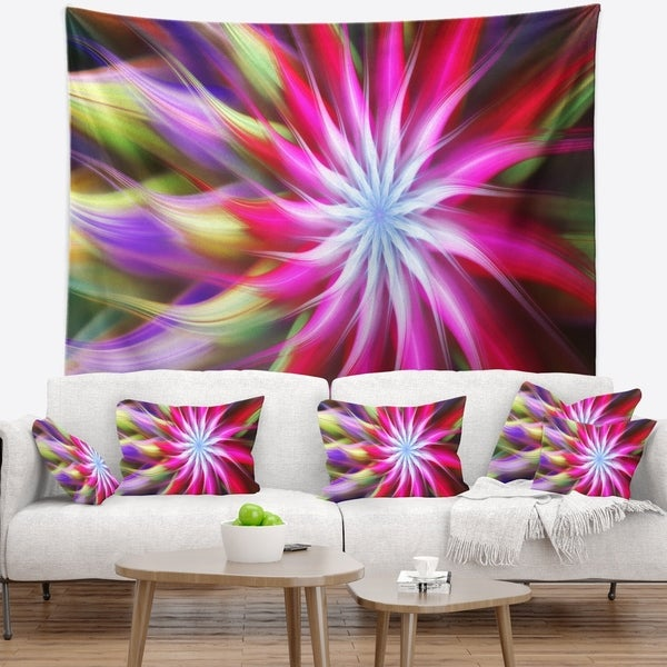 Designart 'Pink Flower Dance Bright Spiral' Floral Wall Tapestry