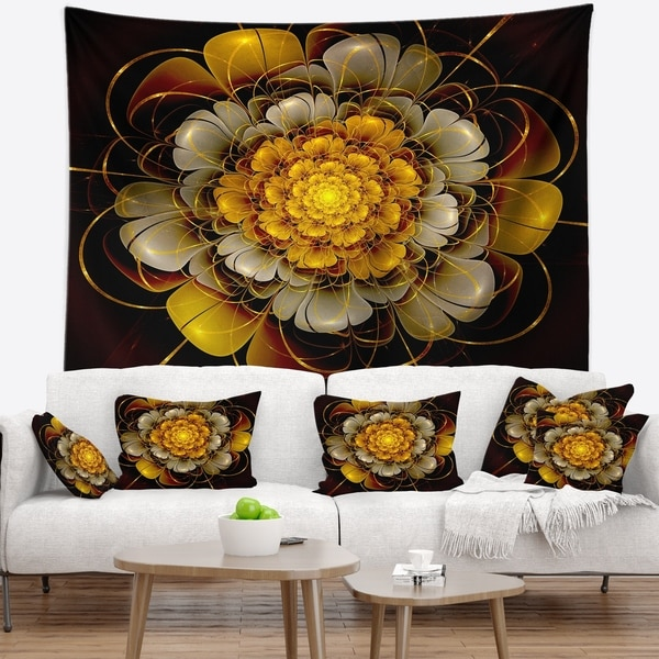 Designart 'Dark Gold Fractal Flower' Abstract Wall Tapestry