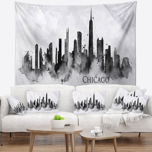 Designart 'Chicago Black Silhouette' Cityscape Painting Wall Tapestry