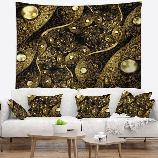 Designart 'Brown Metallic Fabric Pattern' Abstract Wall Tapestry