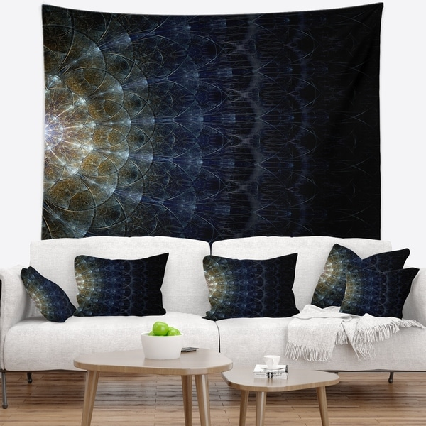 Designart 'Symmetrical Blue Silver Fractal Flower' Abstract Wall Tapestry