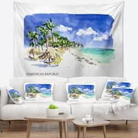 Designart 'Dominican Republic Vector Illustration' Cityscape Painting Wall Tapestry