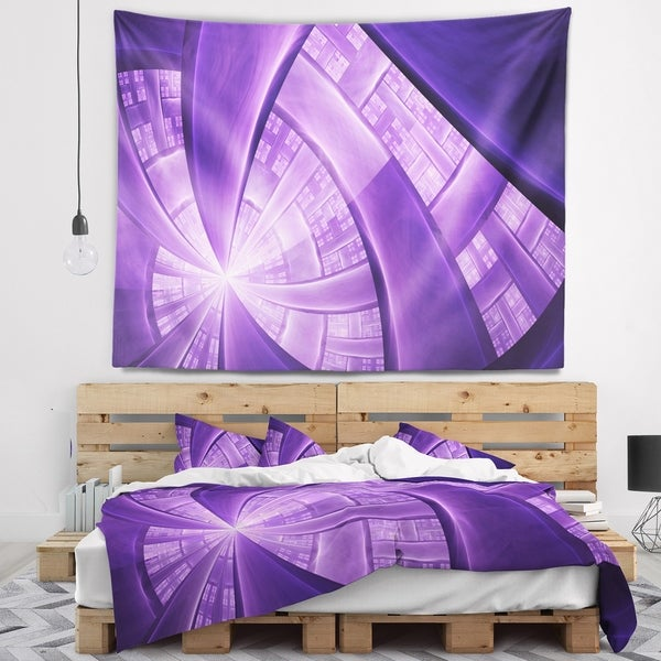 Designart 'Purple Fractal Exotic Plant Stems' Abstract Wall Tapestry