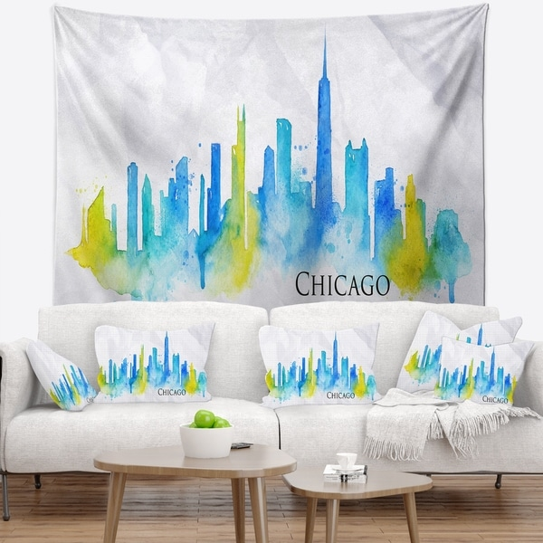 Designart 'Chicago Blue Green Silhouette' Cityscape Wall Tapestry