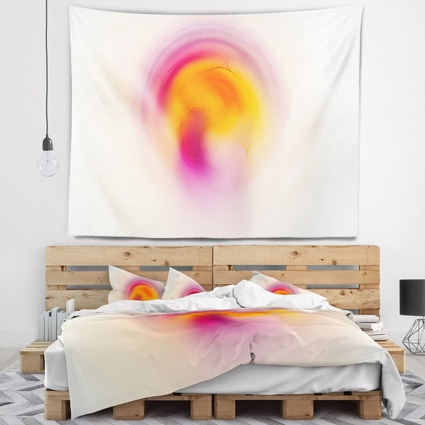 Designart 'Pink Yellow Luminous Misty Sphere' Abstract Wall Tapestry
