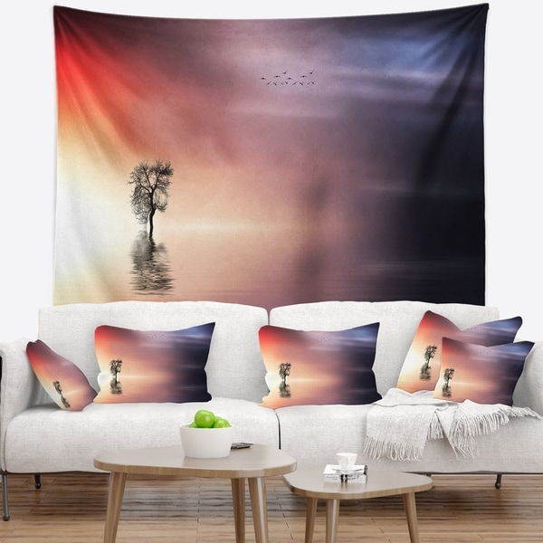 Designart 'Lonely Tree and Birds Panorama' Landscape Wall Tapestry
