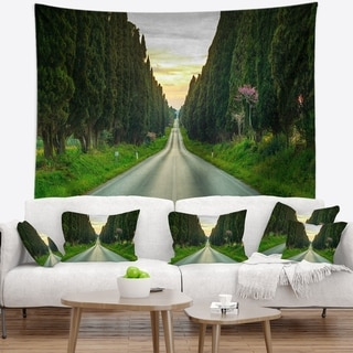 Designart 'Straight Road through Cypress Trees' Landscape Wall Wall Tapestry