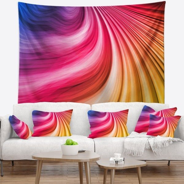 Designart 'Abstract Colorful Waves' Contemporary Wall Tapestry
