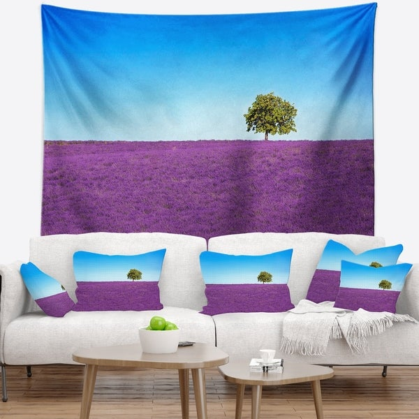 Designart 'Lonely Tree in Lavender Field' Landscape Wall Wall Tapestry