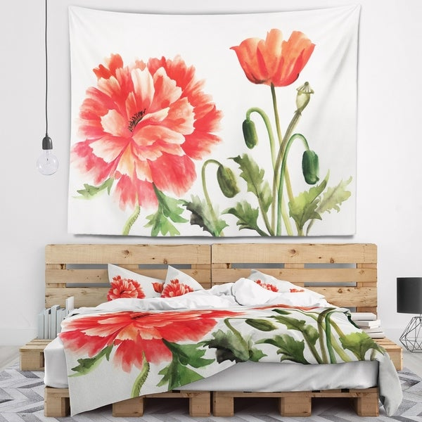 Designart 'Red Poppies' Abstract Watercolor Wall Tapestry