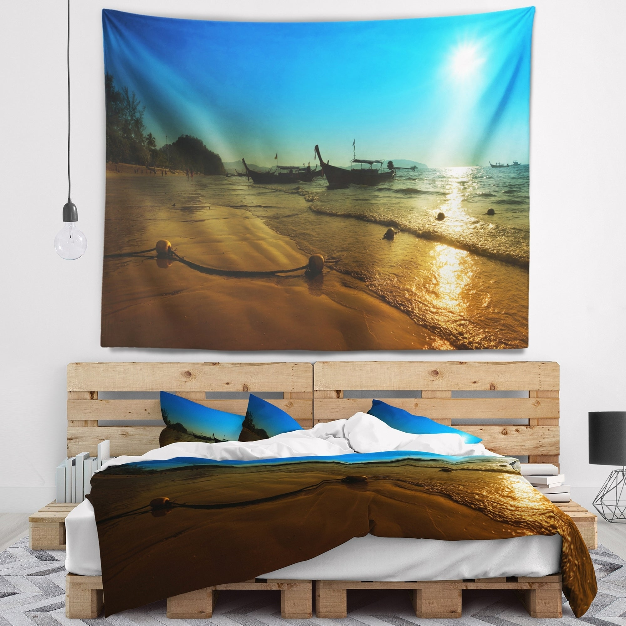 39 in Created On Lightweight Polyester Fabric Designart TAP11458-39-32  Sunset with Boats in Andaman Sea Modern Seascape Blanket D/écor Art for Home and Office Wall Tapestry Medium x 32 in