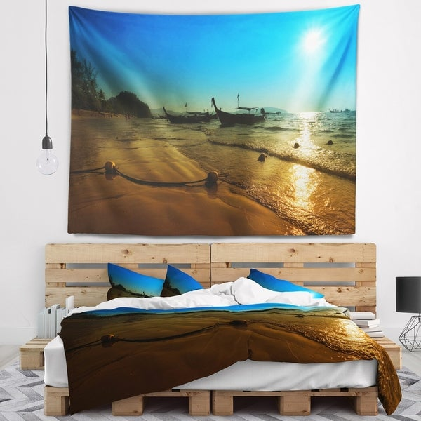 Designart 'Sunset with Boats in Andaman Sea' Modern Seascape Wall Tapestry