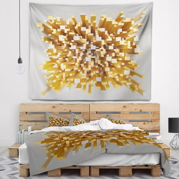 Designart 'Golden Fragments 3D Design' Abstract Wall Tapestry