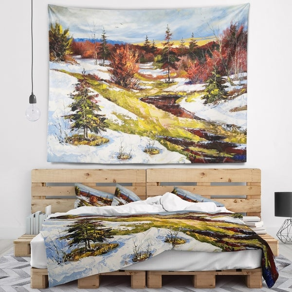 Designart 'Spring Valley with River' Landscape Wall Tapestry