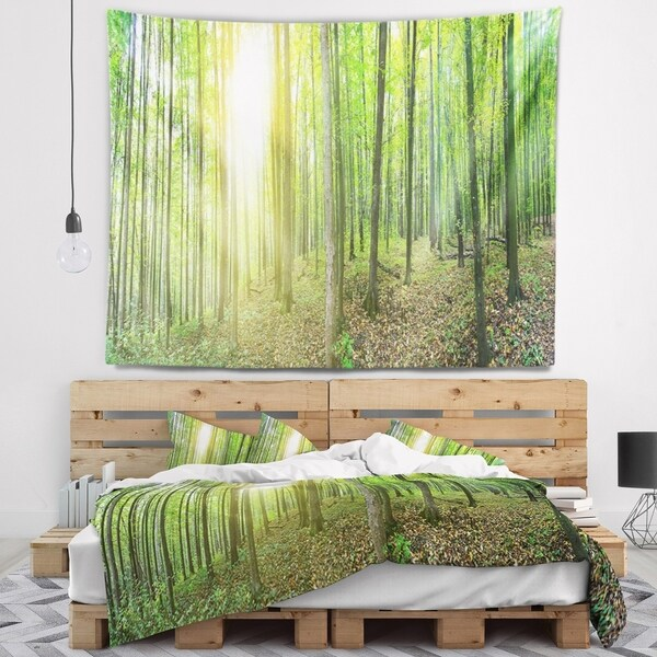 Designart 'Thick Green Forest Panorama' Landscape Wall Tapestry