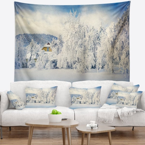 Designart 'White Winter Mountain Landscape' Photography Wall Tapestry