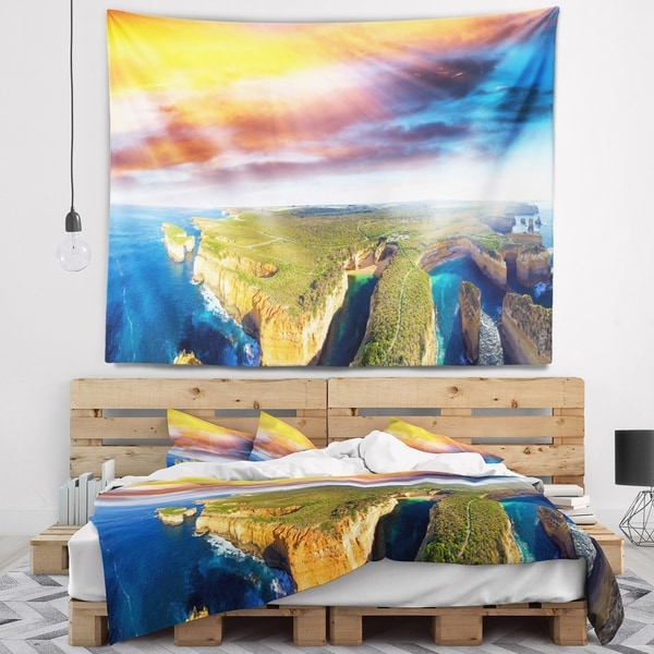 Designart 'Aerial View of Great Ocean Road' Seascape Wall Tapestry