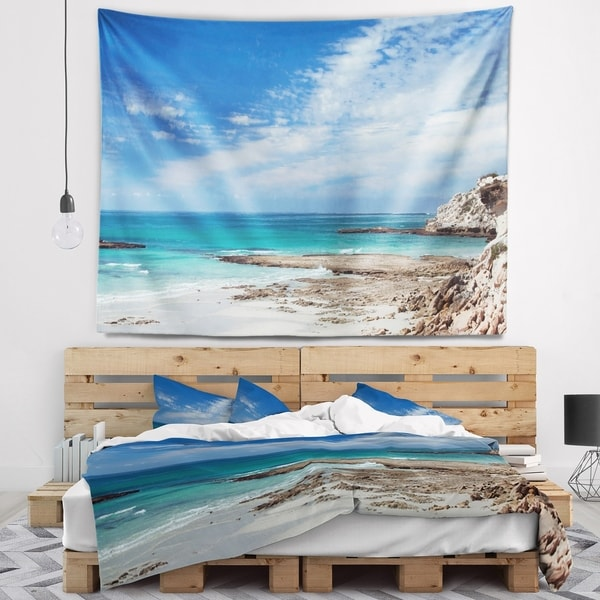 Designart 'Rocky Coast Panoramic View' Seashore Wall Tapestry