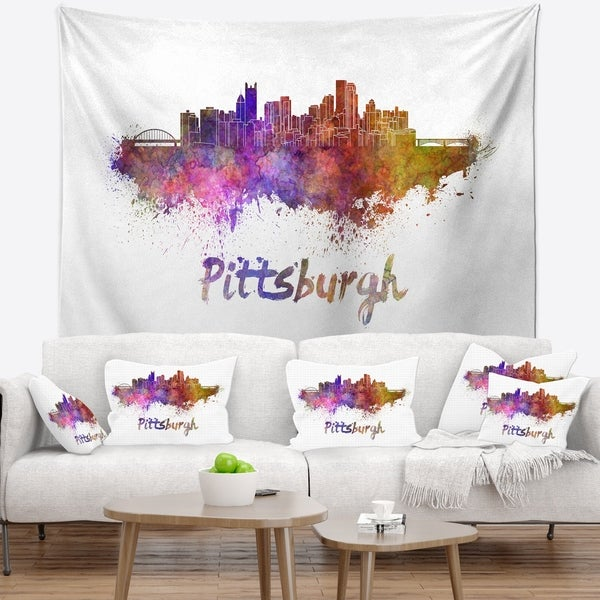 Designart 'Pittsburgh Skyline' Cityscape Wall Tapestry