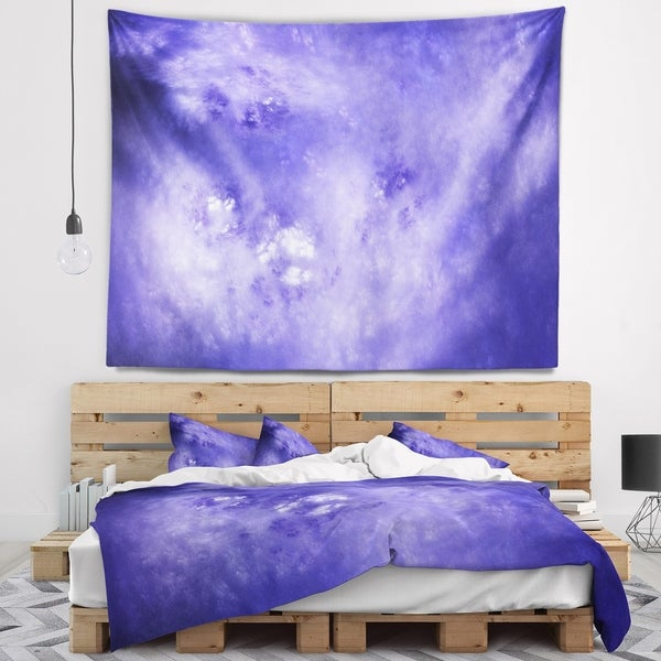 Designart 'Light Blue Fractal Sky with Stars' Abstract Wall Tapestry