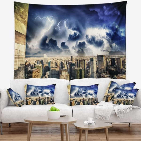 Designart 'Storm Above Manhattan Skyscrapers' Cityscape Photo Wall Tapestry