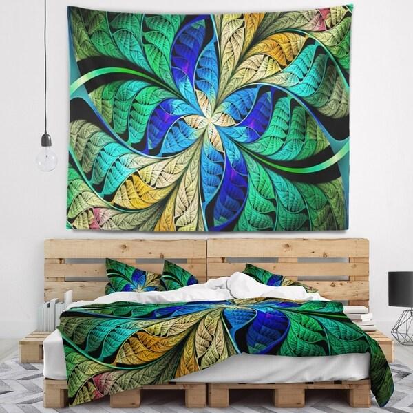 Designart 'Blue Green Fractal Flower Petals' Abstract Wall Tapestry