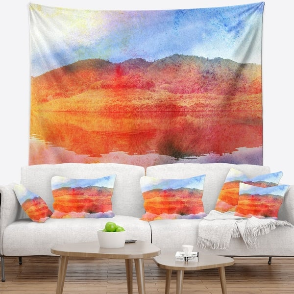 Designart 'Red Retro Island Watercolor' Landscape Painting Wall Tapestry