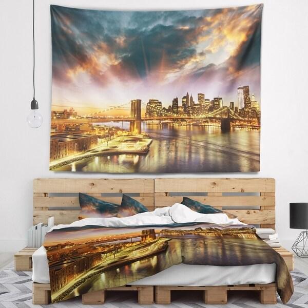 Designart 'Manhattan at Winter Sunset' Cityscape Photo Wall Tapestry