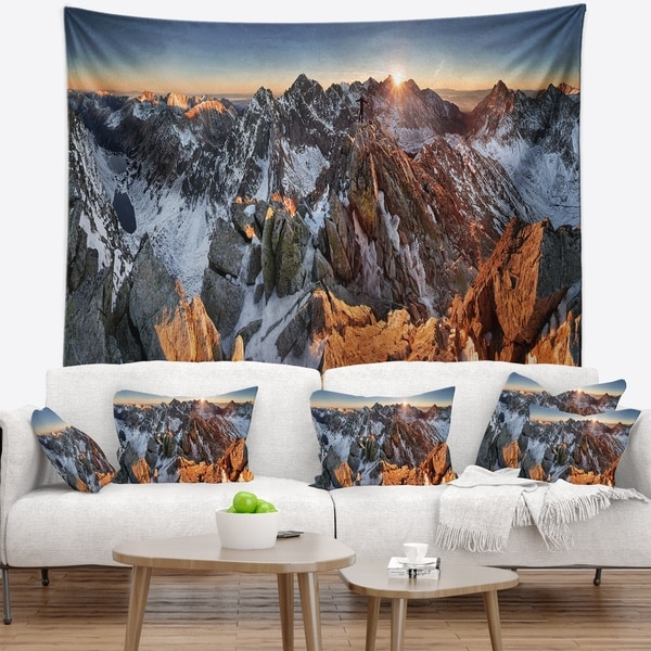 Designart 'Scenery of High Mountain with Lake' Landscape Wall Tapestry