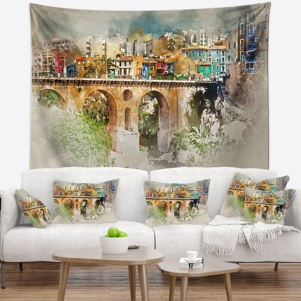 Designart 'Villajoyosa City Digital Art Bridge' Cityscape Wall Tapestry