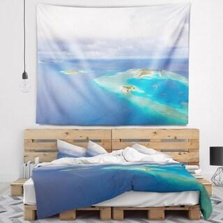 Designart 'Aerial View of Maldives Island' Modern Seascape Wall Tapestry