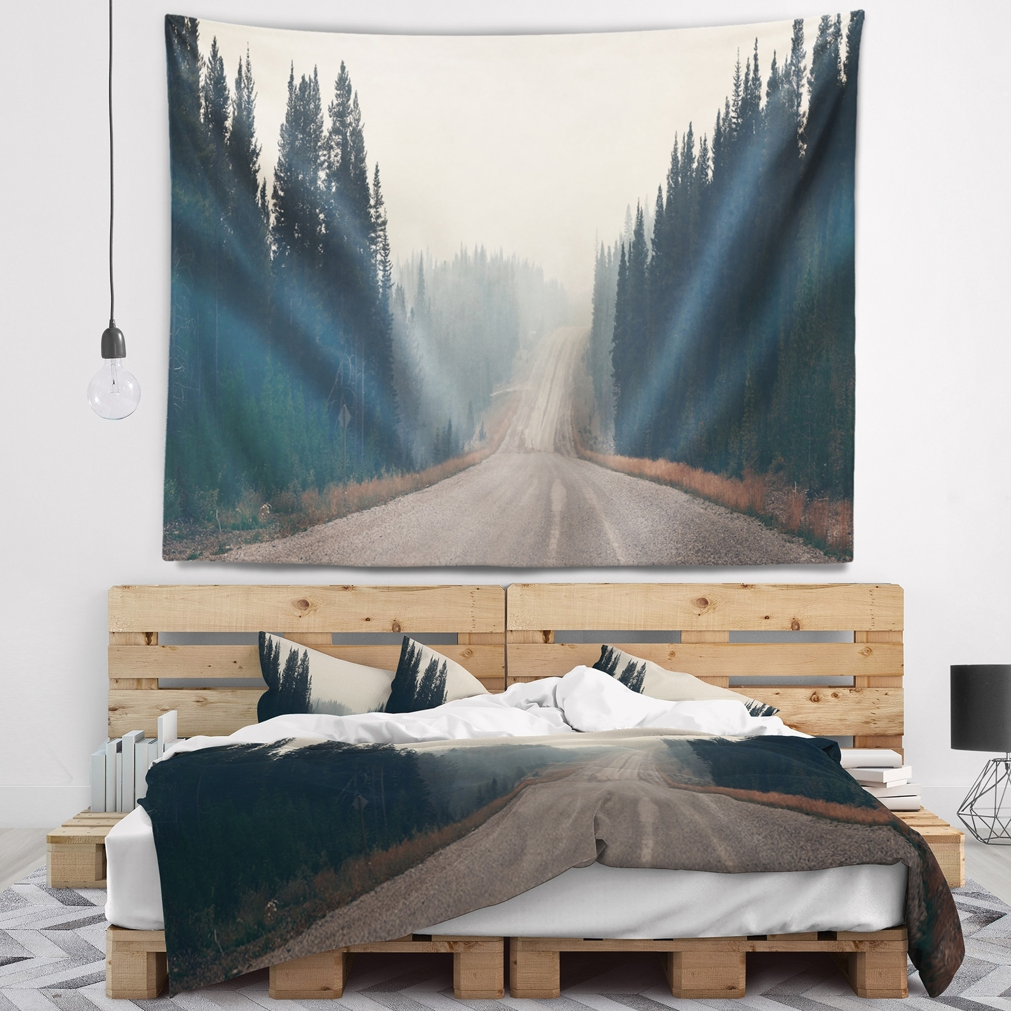 Designart Foggy Road In Forest In Banff Park Modern Seascape Wall Tapestry Overstock 20922380