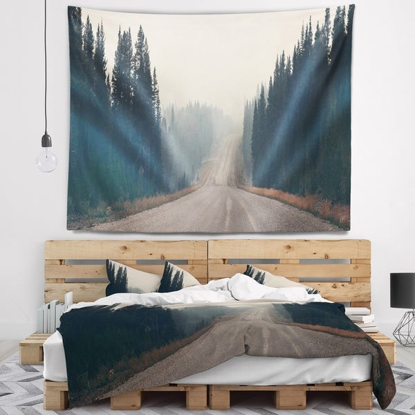 Designart 'Foggy Road in Forest in Banff Park' Modern Seascape Wall Tapestry