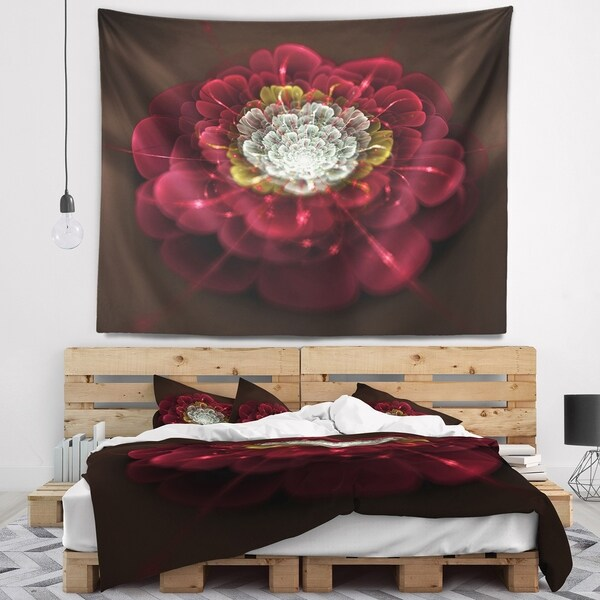 Designart 'Red Fractal Flower with White' Floral Wall Tapestry