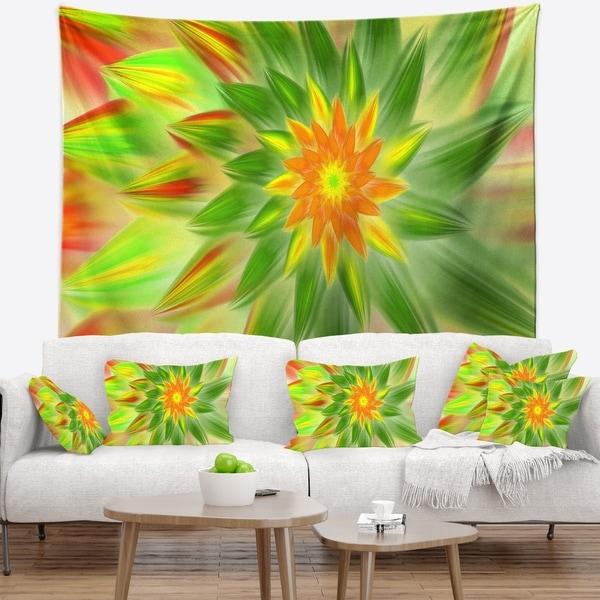 Designart 'Dancing Green Fractal Flower' Floral Wall Tapestry