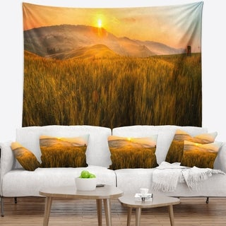 Designart 'Tuscany Wheat Field at Sunrise' Landscape Wall Tapestry