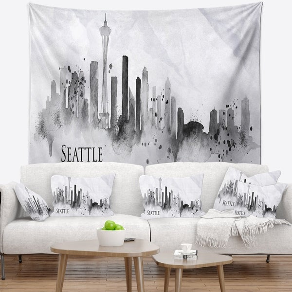 Designart 'Seattle Black Silhouette' Cityscape Painting Wall Tapestry