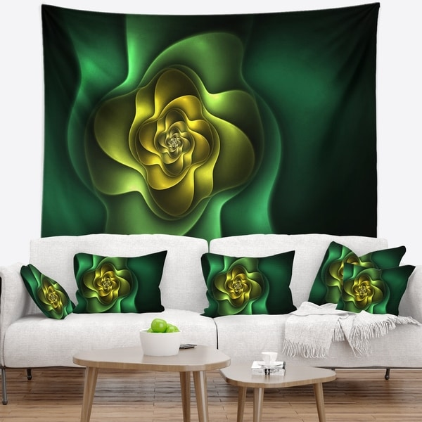 Designart 'Fractal Green Flower on Black' Floral Wall Tapestry