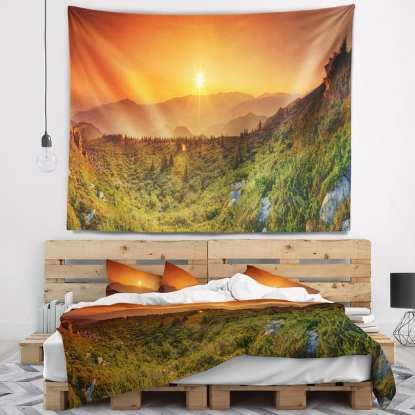 Designart 'Summer in Mountains Panorama' Abstract Wall Tapestry