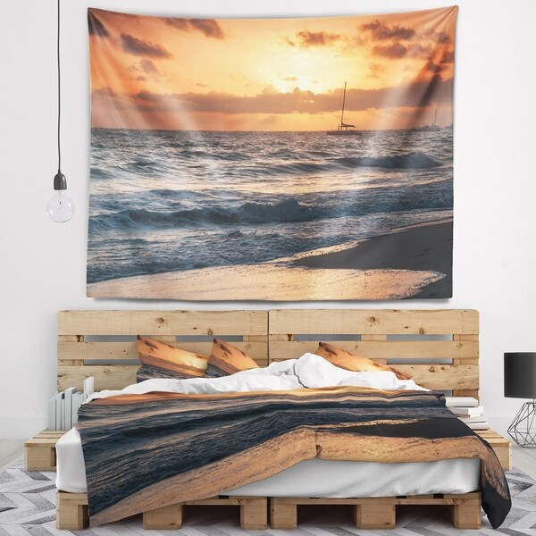 Designart 'Colorful Sunrise over Atlantic Ocean' Beach Photo Wall Tapestry