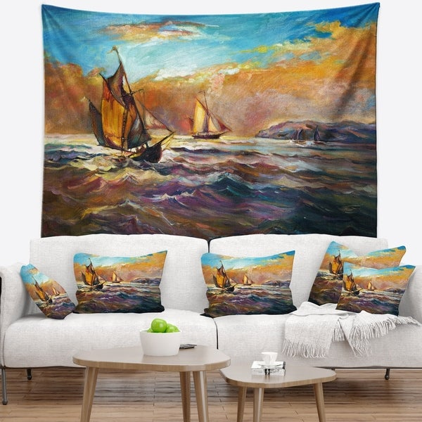 Designart 'Boats in Roaring Sea' Seascape Wall Tapestry